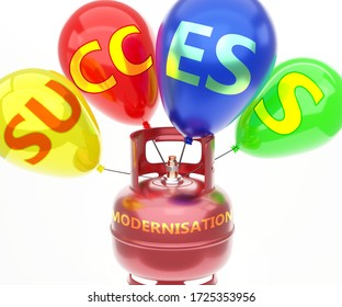 Modernisation and success - pictured as word Modernisation on a fuel tank and balloons, to symbolize that Modernisation achieve success and happiness, 3d illustration