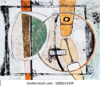 A modernist abstract painting, with a retro feel which suggests British 1960s style.