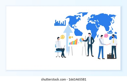 Modernizing business process online Internet page raster. World map and statistical graphics, charts or diagrams, businessmen and project discussion. Website, webpage template, landing page flat style