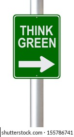 A modified one way road sign on environmental conservation