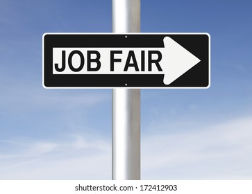 A modified one way sign indicating Job Fair