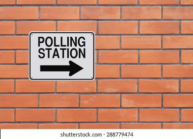 A modified one way sign indicating Polling Station