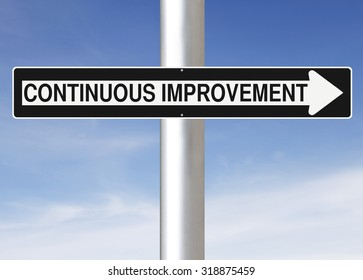 Modified one way sign indicating Continuous Improvement