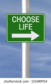 A modified one way street sign indicating Choose Life