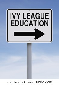A modified one way street sign indicating Ivy League Education