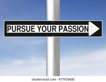 A modified one way street sign indicating Pursue Your Passion