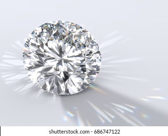 """Modified round brilliant cut """"Star 129"""" diamond with reflection, dispersion caustics rays and shadow on light gray background. Close-up view. 3D rendering illustration"""