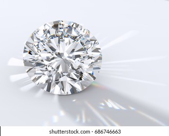 Modified round brilliant Passion cut diamond with reflection, dispersion rays and shadow on light gray background. Close-up view. 3D rendering illustration