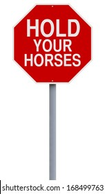 A modified stop sign indicating Hold Your Horses
