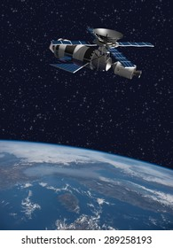 A modified version of Skylab - satellite laboratory for scientific experiments, orbiting over Italy - 3D Scene. Elements of this illustration furnished by NASA.