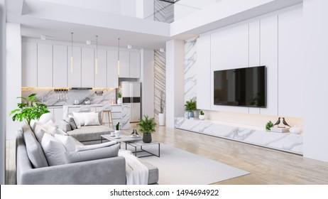 Modren living room and kitchen room  interior ,luxury home,villa ,3d render