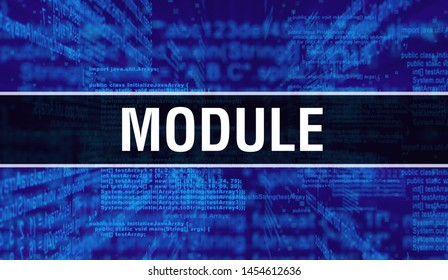 Module with Digital java code text. Module and Computer software coding vector concept. Programming coding script java, digital program code with Module on screen illustration