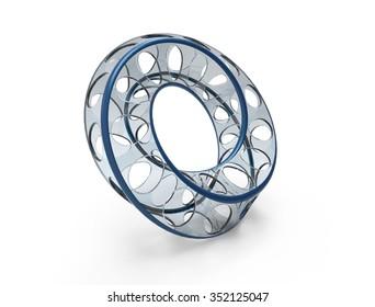 Moebius ring look alike shape on white background