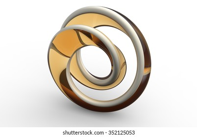 Moebius shaped abstract object on white background