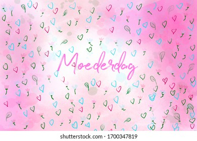 Moederdag (Mothers day) illustration in pink colors with many little flowers.