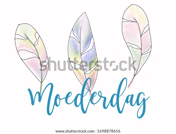 Moederdag (Mothers day) illustration with watercolor feathers.