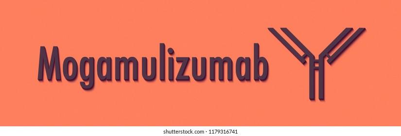 Mogamulizumab monoclonal antibody drug. Targets CCR4. Generic name and stylized antibody representation.