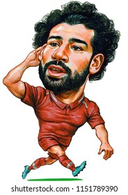 Mohamed Salah Ghaly is an Egyptian professional footballer who plays as a forward for English club Liverpool and the Egyptian national team. Illustration,Caricature,Design,August,08,2018