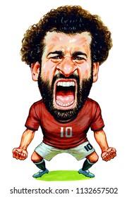 Mohammed Salah Gabriel, professional Egyptian national footballer. Illustration,Caricature,Design,July,12,2018