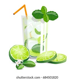 Mojito with mint high detailed color citrus. illustration with sliced limes, mint and cocktail in glass