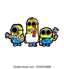 MOJOKERTO, INDONESIA - AUGUST 2th, 2021 - Zombie Version of Minion Cartoon