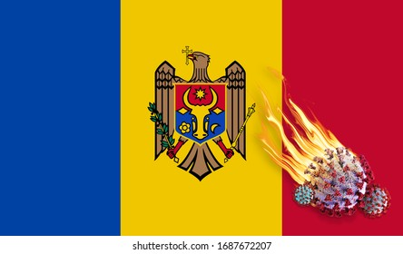 Moldova flag with Covid-19 Coronavirus and fire flames -3D illustration