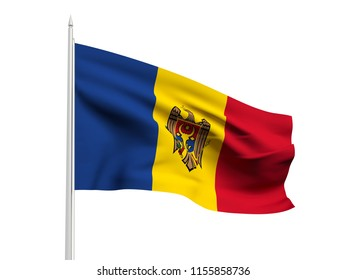 Moldova flag floating in the wind with a White sky background. 3D illustration.