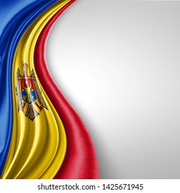 Moldova flag of silk with copyspace for your text or images and White background-3D illustration