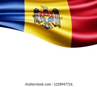 Moldova flag of silk and white background-3D illustration