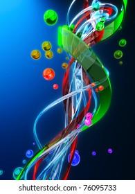 Molecular mechanics. Biology. Nanotechnology. 3d rendering.