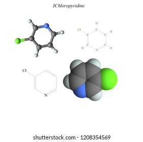 Molecular structure, 3D molecular plot and structure diagram, chlorinated