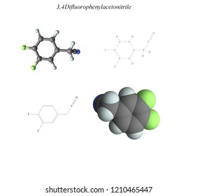 Molecular structure, 3D molecular plot and structure diagram, fluorinated