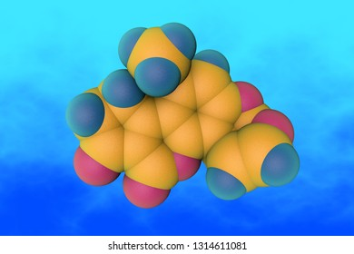 Molecular structure of aflatoxin B1, a potent hepatotoxic and carcinogenic toxin produced by fungi Aspergillus. Medical background. Scientific background. 3d illustration