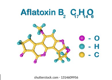 Molecular structure of aflatoxin B2 produced by fungi Aspergillus. Atoms are represented as spheres with color coding: oxygen (pink), hydrogen (light blue), carbon (yellow). 3d illustration