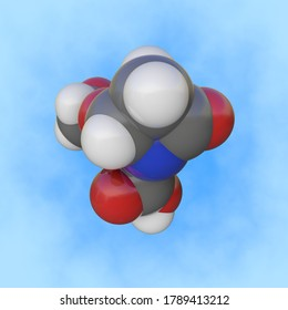 Molecular structure of clavulanic acid. Atoms are represented as spheres with color coding: carbon (grey), oxygen (red), nitrogen (blue), hydrogen (white). Scientific background. 3d illustration