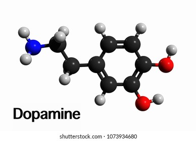 Molecular structure of dopamine (DA, 3,4-dihydroxyphenethylamine), an organic chemical, medication and stimulant drug, 3D rendering