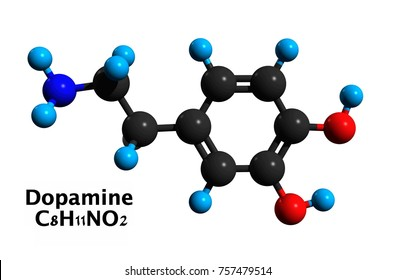 Molecular structure of dopamine (DA, 3,4-dihydroxyphenethylamine), an organic chemical, medication and stimulant drug