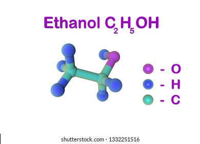 Molecular structure of ethanol (drinking alcohol, ethyl alcohol). Atoms are represented as spheres with color coding: oxygen (purple), hydrogen (blue), carbon (light blue). 3d illustration