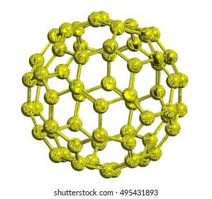 Molecular structure of fullerene (metallic) -  carbon atoms in form of hollow sphere, 3D rendering