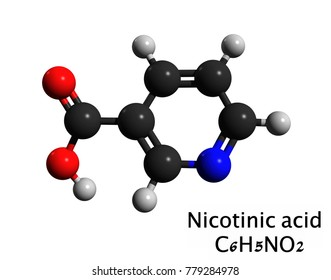 Molecular structure of niacin (vitamin B3, nicotinic acid), is a pyridinecarboxylic acid, one of the essential human nutrients, 3D rendering