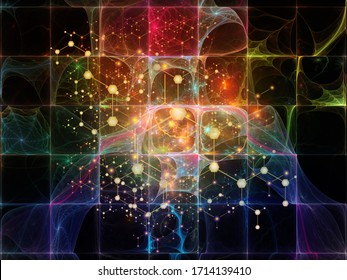 Molecular Structure series. Arrangements of abstract atoms on abstract background into crystal network on the subject of science and technology.
