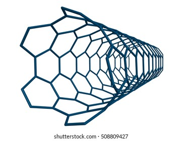 Molecular structure of small nanotube (blue) -  carbon atoms in form of hollow tube, 3D rendering