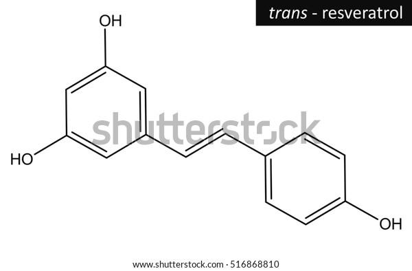 Molecular Structure Trans Resveratrol Antioxidant Present Stock