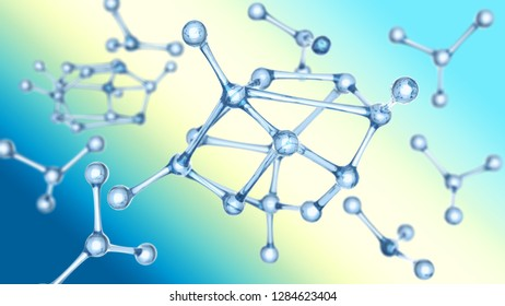 molecule or atom Abstract structure for Science or medical background 3d illustration on blue