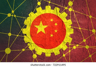 Molecule And Communication Background. Connected lines with dots. Technology and science background. Flag of the China. Grunge distress texture.