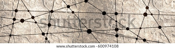 Molecule And Communication Background. Modern brochure or web banner design template. Connected lines with dots. Medical, technology, chemistry, science background. Grunge texture