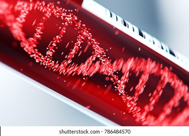 Molecule of DNA forming inside the test tube in the blood test equipment.3d rendering,conceptual image.