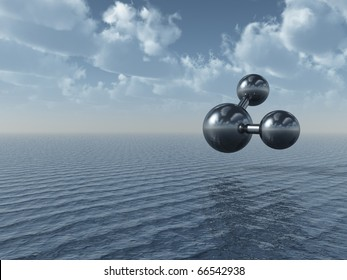 molecule model over the ocean - 3d illustration