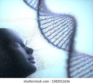Molecule particles coming out of the face to cluster into the DNA molecule. 3D illustration.