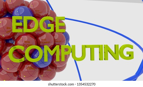 Molecule in red and blue reflecting the words Edge Computing 3D illustration
